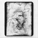 Mohawk Punk Rocker black and white Drawing Mouse Pads