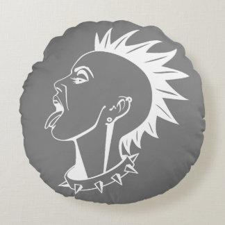 MOHAWK PUNKY (GRIS Y BLANCO DE CARBÓN DE LEÑA) COJÍN REDONDO