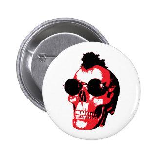 Mohawk Skull - rock'n'Roll Pin Redondo De 2 Pulgadas