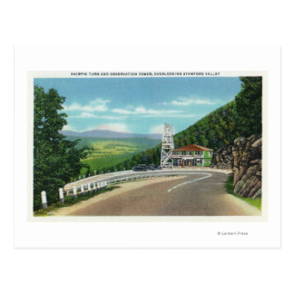 Mohawk Trail Hairpin Turn & Observation Tower Postcard