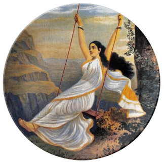 MOHINI ON A SWING decorative porcelain plate