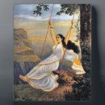 """MOHINI ON A SWING plaque<br><div class=""""desc"""">The freeing feeling of being of a swing is recreated in this image of &quot;Mohini on a swing&quot; created by Ravi Varma</div>"""