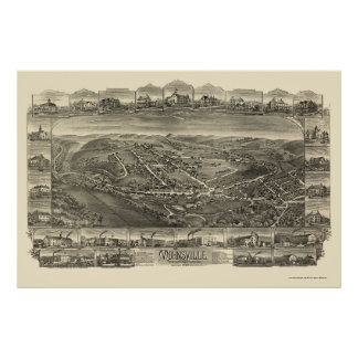 Mohnsville, mapa panorámico del PA - 1898 Impresiones