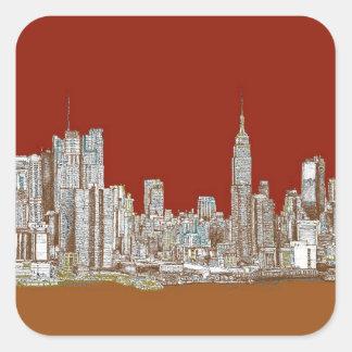 Moho del rojo del horizonte de Nueva York Pegatina Cuadrada