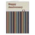 Moho y rayas azules con el aniversario de cobre de tarjetón