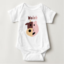 Moink: Cartoon cow and pig Baby Bodysuit
