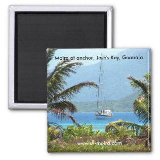 Moira at anchor, Josh's Key, Guanaja, Honduras 2 Inch Square Magnet