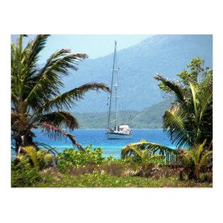 Moira at anchor, Josh's Key, Guanaja, Honduras Postcard