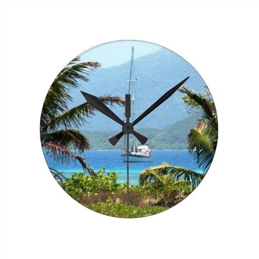 Moira at anchor, Josh's Key, Guanaja, Honduras Round Wall Clocks