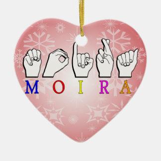 MOIRA NAME SIGN ASL FINGERSPELLED CERAMIC ORNAMENT