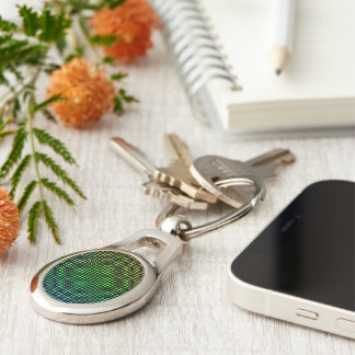 Moire Checkers Silver-Colored Oval Metal Keychain