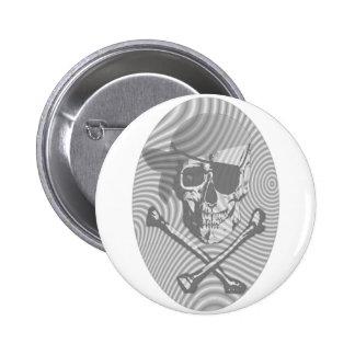 Moire Pirate Skull Pinback Button