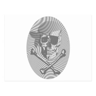 Moire Pirate Skull Postcard