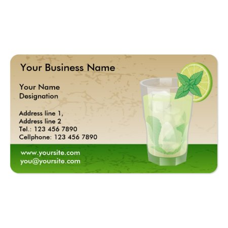 Glass of Mojito Cocktail Drink with a Slice of Lime and Mint Leaves Business Cards