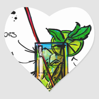 Mojito Cocktail Recipe Heart Sticker