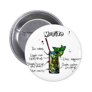 Mojito Cocktail Recipe Pinback Button
