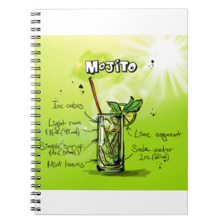 Mojito Recipe - Cocktail Gift Spiral Notebook