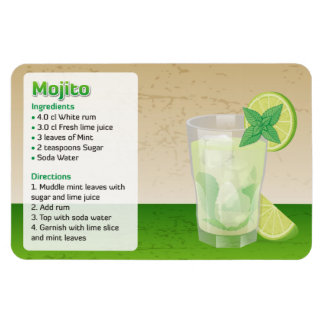 Mojito Recipe Rectangular Photo Magnet