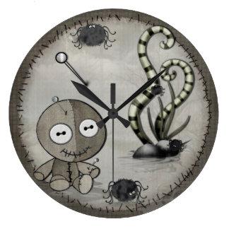 MOJO Gothic Voodoo Doll Folk Art Large Clock