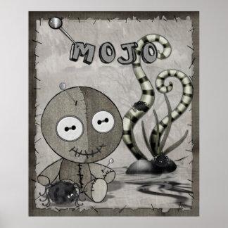 MOJO Gothic Voodoo Doll Folk Art Poster