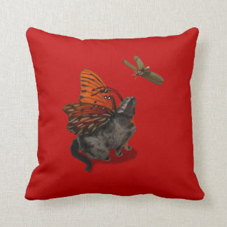 MoJo Royal Red Pillow with hungry kitty fairy cat