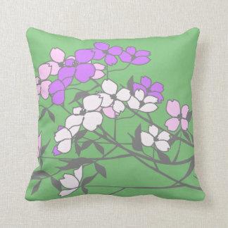 Mojo soporta los flores blancos púrpuras rosados d almohadas