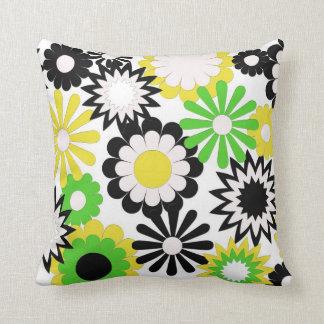 MoJo Throw Pillows, green, yellow, black flowers Throw Pillows