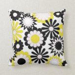 MoJo Throw Pillows, yellow, black & white flowers