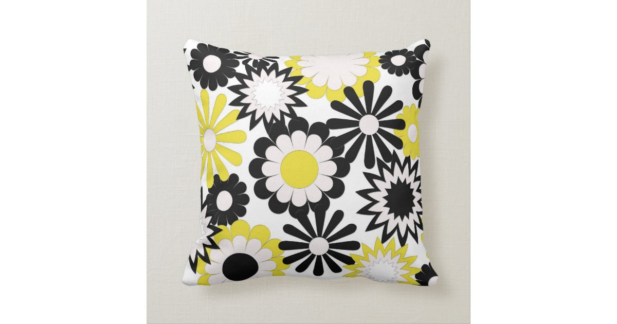 Mojo throw pillows yellow black white flowers throw pillow zazzle - Whiten yellowed pillows ...