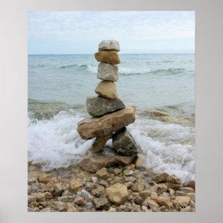 Mojón de la roca (pilar) - isla de Mackinac, Póster
