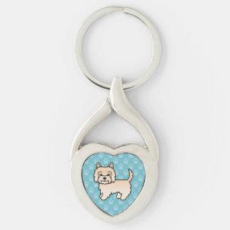 Mojón lindo Terrier de la crema del dibujo animado Llavero Plateado En Forma De Corazón