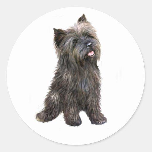 Mojón Terrier - brindle Pegatina Redonda