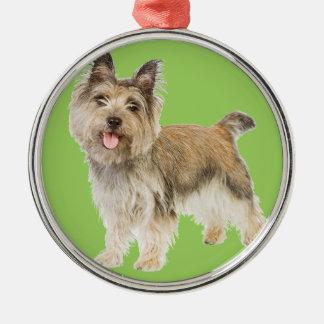 Mojón Terrier Adorno Redondo Plateado