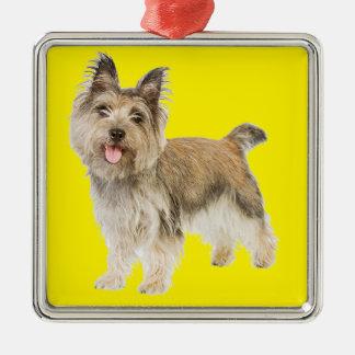 Mojón Terrier Adorno Cuadrado Plateado