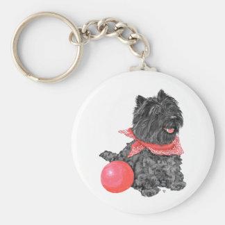 Mojón Terrier negro con la bola Llavero Redondo Tipo Pin