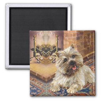 Mojón Terrier por la chimenea acogedora Imán Cuadrado