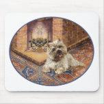 Mojón Terrier por la chimenea acogedora Tapete De Ratón