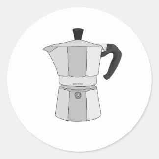 Moka coffee pot classic round sticker