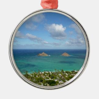 Moks off the shore of Lanikai Christmas Tree Ornaments