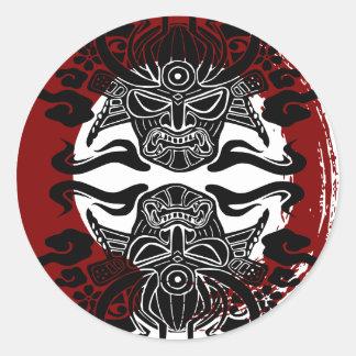 Moku Hanga black face red enso Classic Round Sticker