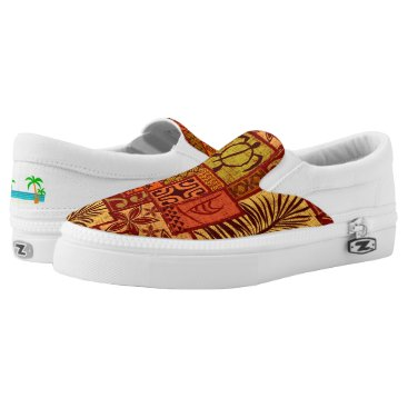 Beach Themed Moku Malihini red Slip-On Sneakers