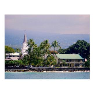 Mokuaikaua Church, Hulihee Palace, Kailua-Kona, Postcard