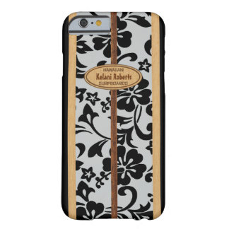 Mokuleia Hawaiian Faux Wood Monogram Surfboard Barely There iPhone 6 Case