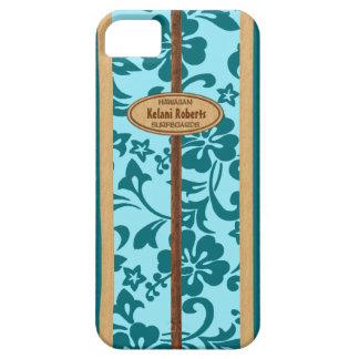 Mokuleia Hawaiian Faux Wood Monogram Surfboard iPhone 5 Cases