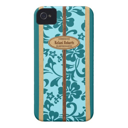 Mokuleia Hawaiian Faux Wood Monogram Surfboard Case-Mate iPhone 4 Cases