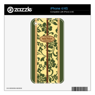 Mokuleia Hawaiian Faux Wood Monogram Surfboard Decal For The iPhone 4S