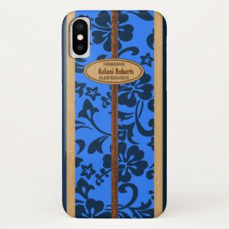 Mokuleia Hawaiian Faux Wood Monogram Surfboard iPhone X Case