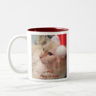 ¡MOL! Taza del gato del navidad del 2-Tono