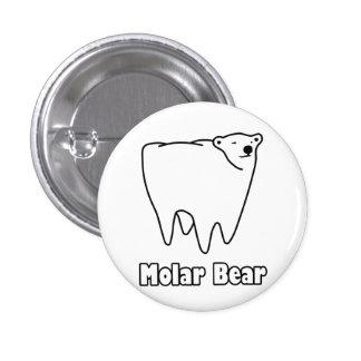 Molar Bear Polar Tooth Bear 1 Inch Round Button