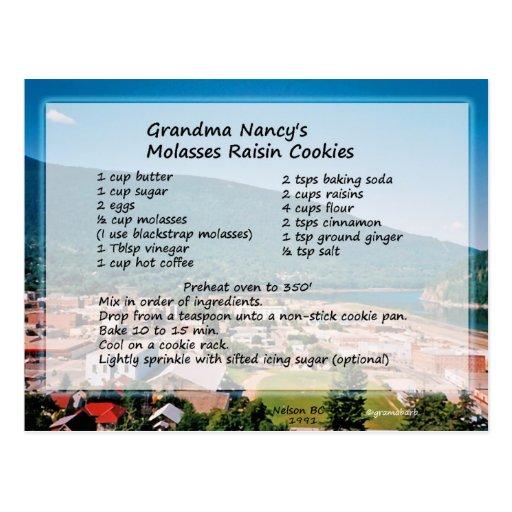 Molasses Raisin Cookie Recipe Postcard